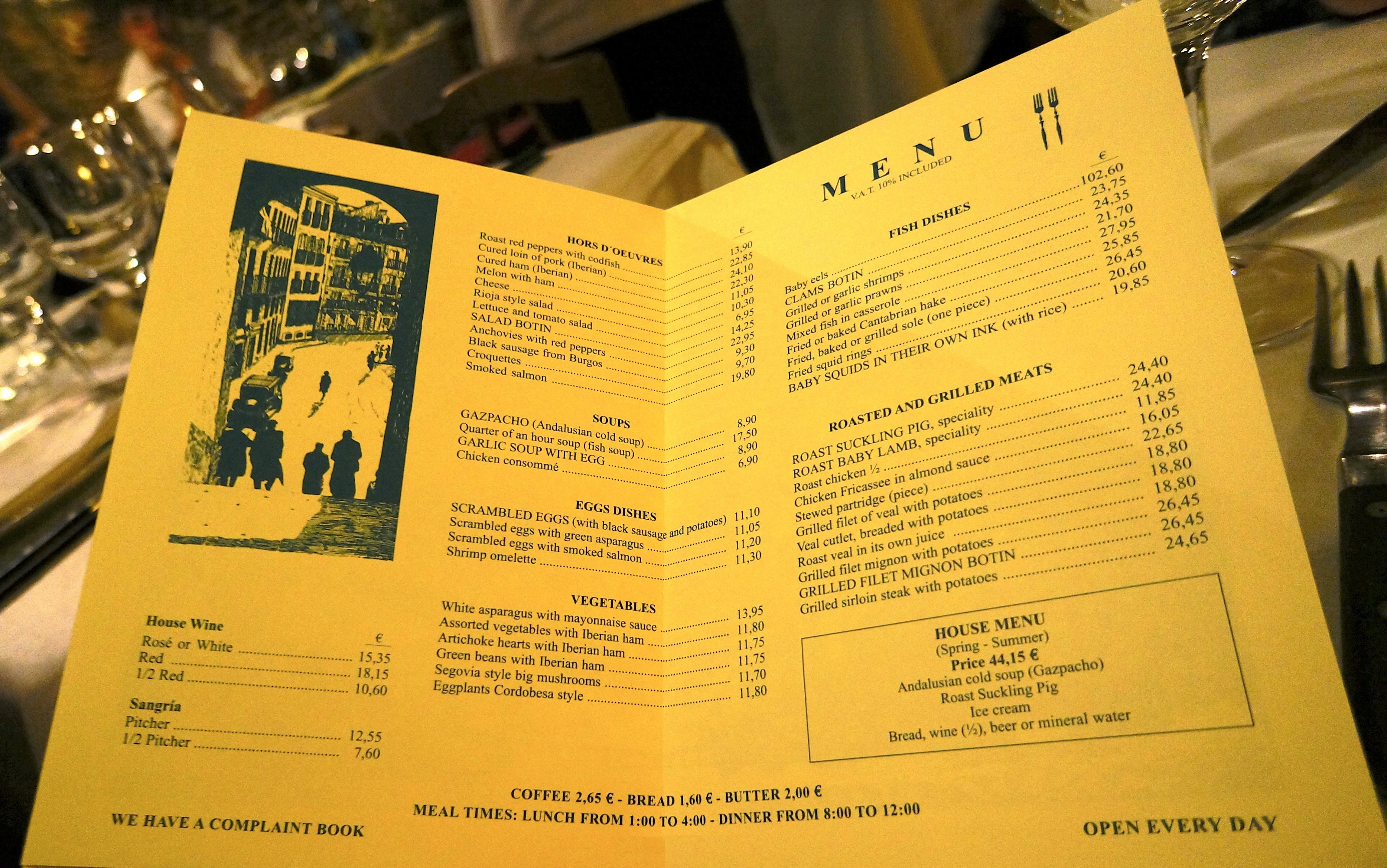 Botin Restaurant Menu Prices